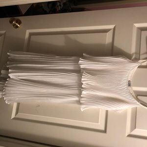 White High Low Accordion Style Dress